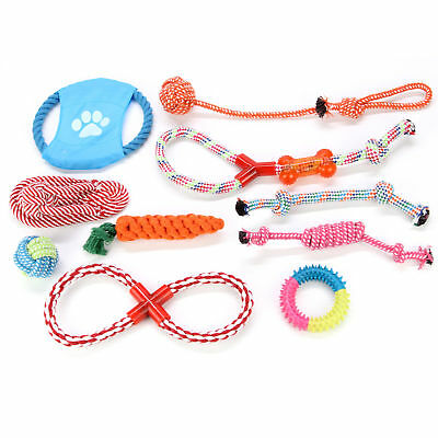 Dog Rope Toys Tough Strong Chew Knot Teddy Pet Puppy Bear Cotton Toy NEW 10Pcs