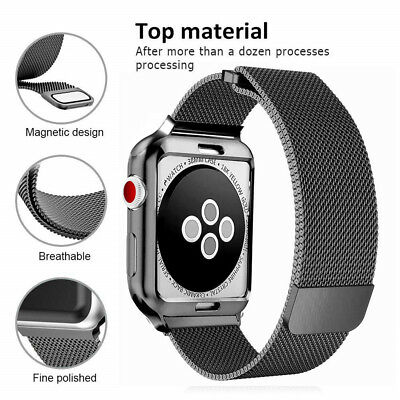 Magnetic Milanese Watch Loop Band Strap TPU Case for Apple iWatch 38/40/42/44mm
