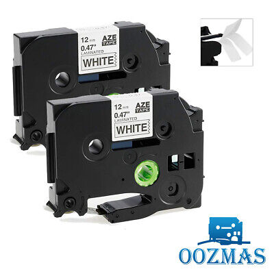 2PK P-Touch Compatible for Brother TZe-231 Black/White Label Tape 12mm Laminated