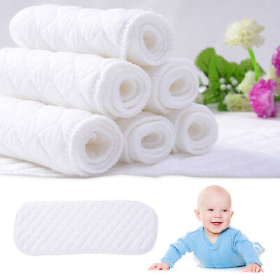 5PCS/10PCS Reusable Baby Cotton Cloth Diaper Nappies Liners Insert 3 Layers Hot!