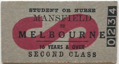 VR Ticket - MANSFIELD to MELBOURNE - Student or Nurse - 2nd Class Single