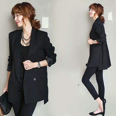 Black Women Jacket Blazers Straight Smooth Female Split Notched Collar Coat B