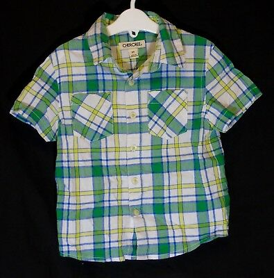 Baby Boys Cherokee Green Yellow Check Short Sleeve Casual Shirt Age 18-24 Months