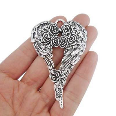 3pcs Antique Silver Tone Large Rose Angel Wings Feather Charms Pendants 69x46mm