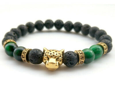 8mm volcanic green Tiger's Bracelet Tibet silver Bless 7.5inches energy