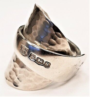 Solid sterling silver hallmarked vintage 1933 hammered spoon ring SIZES S T U V