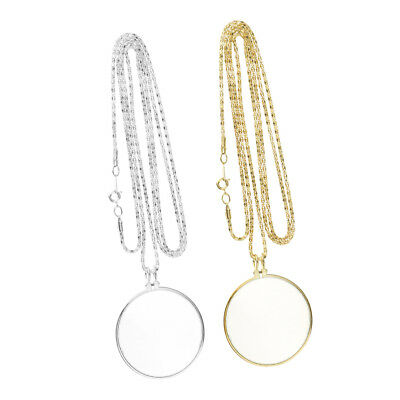 2Pcs Monocle Magnifying Glass Necklace Chain Reading Magnifier Loupe Pendant