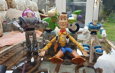 DISNEY TOY STORY Talking Woody Buzz Lightyear on Motorcycle & Rare Transformer P