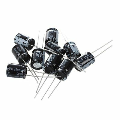 10 x 1000uF 16V 105C Radial Electrolytic Capacitor 10 x 13mm E2H5