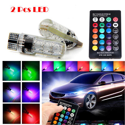 2 Stck T10 W5W 5050 6 SMD RGB bunte Licht Auto Wedge Side Bulbs Fernbedienung DE