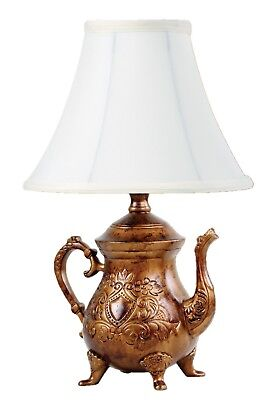 Vintage Brushed Bronze Teapot Lamp with Shade