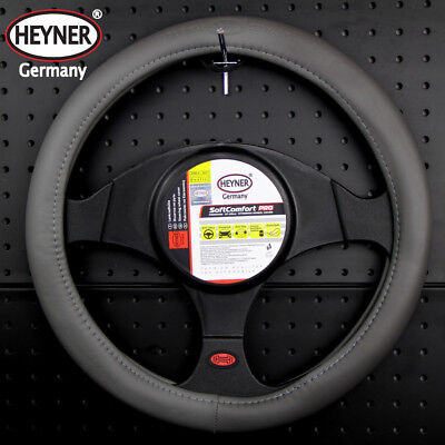 TOP car steering wheel cover 37-39cm GREY quality look faux leather SOFT HEYNER