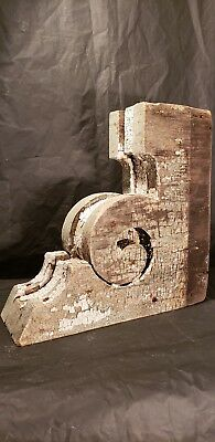 Vintage Antique Large Architectural Salvage Wood Corbels Chippy