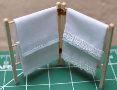 Dolls House Miniature 1/12th Scale Pine Clothes Horse Fine Quality with 4 sheets