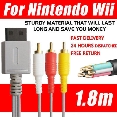 For Nintendo Wii /Wii U Game   Wire  TV AV Composite  Cable 3RCA Audio Video