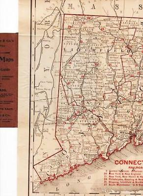 RAND-McNALLY VEST POCKET MAP OF CONNECTICUT AND RHODE ISLAND Showing all 1892