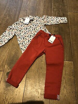 Boys Next Outfit Size 2-3 Years * Animal Print Shirt & Chinos * Bnwt