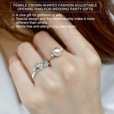 Female Crown-shaped Fashion Adjustable Opening Ring for Wedding Party Gifts G1