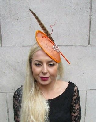 Orange Brown Pheasant Feather Disc Saucer Hat Fascinator Hair Races Ascot 6874