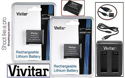 Hi Capacity 2Pc AHDBT-401 Battery & Dual Charger for GoPro HD HERO4 Black/Silver