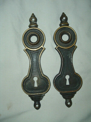 Antique Bronze or brass COLONIAL American door knob plates MATCHING PAIR