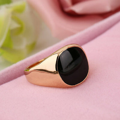 Fashion Steel Metal Ring 18K Gold Plated Black Onyx Stone Engagement Wedding J4