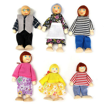 6 Cute Doll Wooden House Family People Kids Children Play Toy Gift