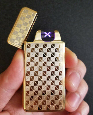 Gold Checkered USB Rechargeable Flameless Windproof Dual Arc Electric Lighter