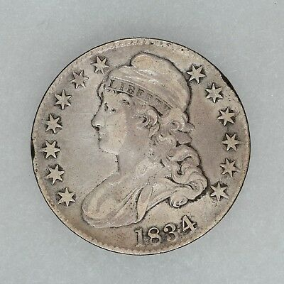1834 Capped Bust Half Dollar 50C Vf Very Fine Cleaned (8269)
