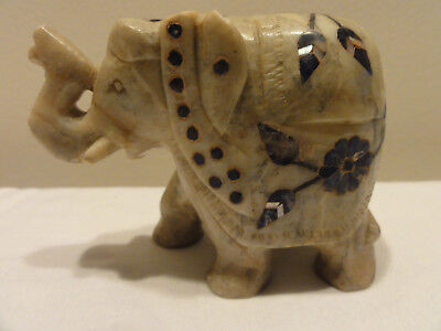Marble Carved Statue Elephant with Floral  Inlay