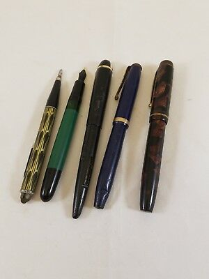 Lot Of (4) Vintage Fountain Pens and 1 vintage mechanical pencil