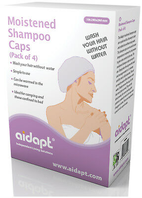 Aidapt Moistened Shampoo Caps - Pack of 4 - NO NEED TO USE WATER - VM970C