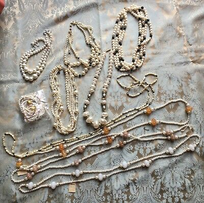 Lot of (10) Vintage Faux Pearl Necklace Lot Some New Old Stock w/ Original Tags