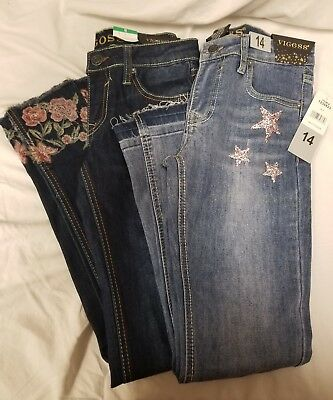 Vigoss Girls Jeans with Bedazzled Pink Stars or Floral Bottoms Variety Size