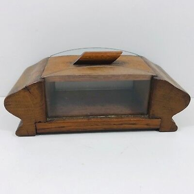 Vintage Art Deco Wooden Lidded Pot Glass Sides For Cheese? Storage Box