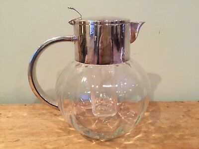 Vintage EL Germany Eisenberg Lozano Optic Glass Silver Plate Round Pitcher 64 Oz