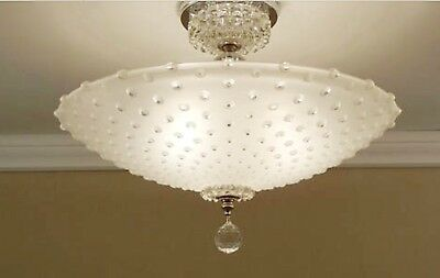 Vtg Art Deco Mid Cent Glass Ceiling Fixture Light Shade Hobnail Lamp