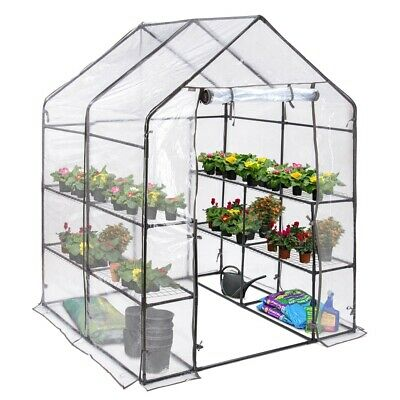 Large Walk In PVC Greenhouse Garden Grow House 8 Mesh Shelves Roll Up Door