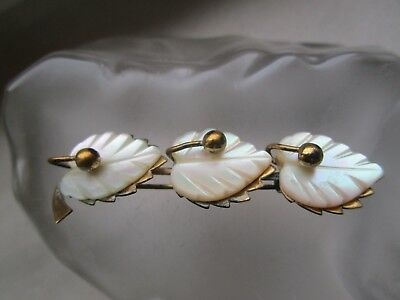 Old Art Nouveau Brooch Mother of Pearl Gold Filled