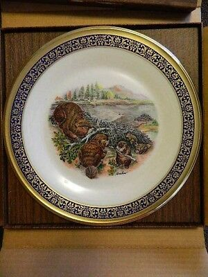 Lenox woodland wildlife Boehm collector plate BEAVERS 1977 original box