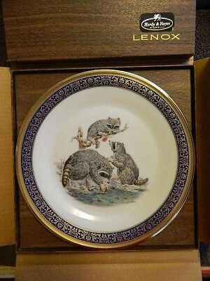 Lenox woodland wildlife Boehm collector plate RACCOONS 1973  original box