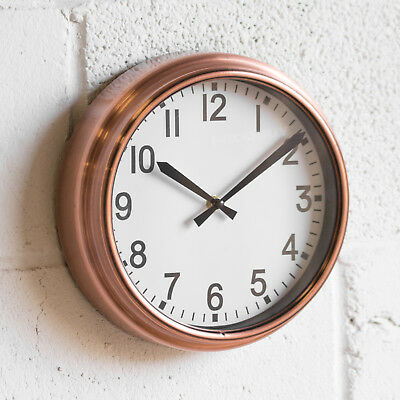 Modern 25.5cm Round Wall Clock Copper Coloured Rose Gold Kitchen Bedroom Office