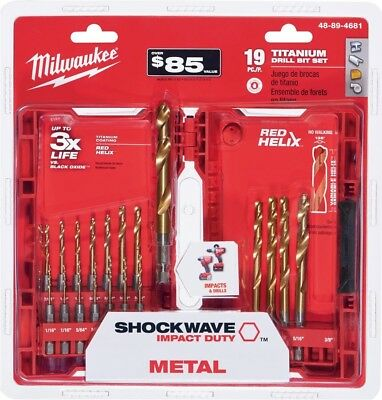 New Milwaukee Shockwave 19 Piece Titanium Impact Duty Drill Bit Set 48-89-4681