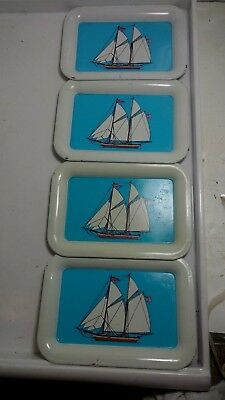 4 Tip Trays with sail boats