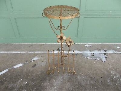 Vintage Twisted Wrought Iron Metal Flower Design Plant Stand w/ Magazine Rack