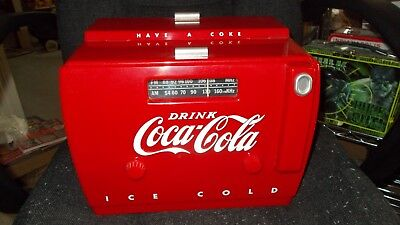otr-1949 old tyme coca cola cooler radio am-fm and cassette player