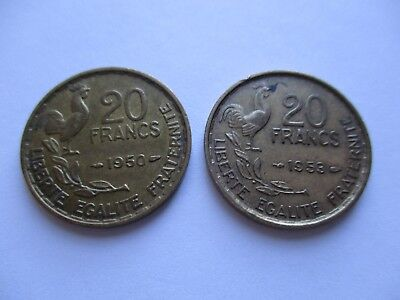 "Coins France 1950 1953 Antiques ""20"" Francs French Coin Set Of 2 Souvenirs  #968"