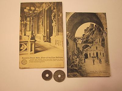 Coins France 1923-1925 Antiques French Belgium Post Cards Set Of 4 Souvenirs