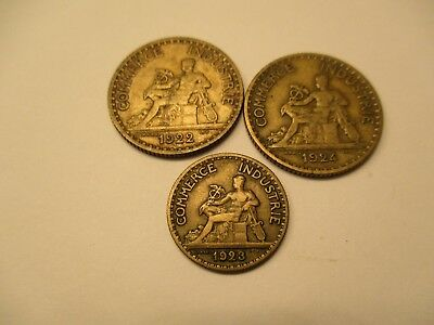 Coins France 1922, 1923, 1924  Francs French Set Of 3 Souvenirs #451