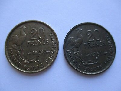 "Coins France 1951 1952 Antiques ""20"" Francs French Coin Set Of 2 Souvenirs  #969"